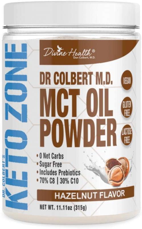 Dr. Colbert's Keto Zone MCT Oil Powder   Hazelnut Flavor   70 % C8   30% C10   0 Net Carbs   Gluten Free   30 Day Supply   315g  