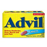 Advil Caplets (50 Count), 200 mg Ibuprofen, Temporary Pain Reliever / Fever Reducer