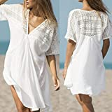 Auwer Cover Up Dress, Womens Lace Swimwear Cover Up Dress Beach Sexy Swimsuit Smock Blouse (XL, White)