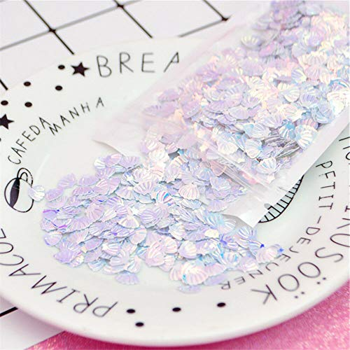 (1 Bag Tiny Fan Shell Shaped Plastic Sequins Nail Arts Wedding Sewing DIY Crafts (Color - White))
