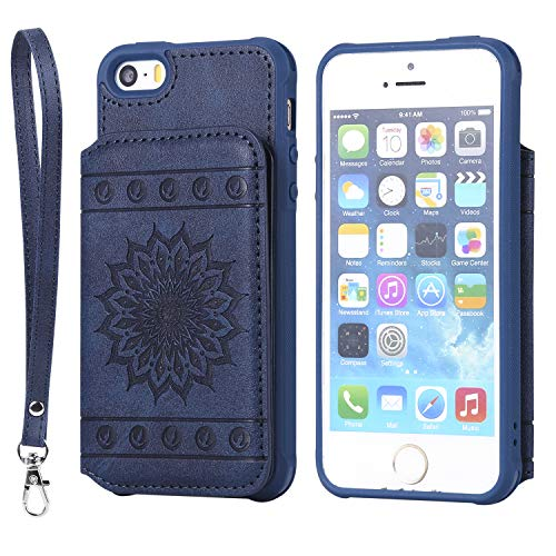 iPhone SE,iPhone 5S Case,iPhone 5,DAMONDY Luxury Flower Sunflower Wallet Purse Card Holders Design Cover Soft Shockproof Bumper Flip Leather Kickstand Clasp Wrist Strap Case for iPhone SE-Blue (Iphone Flowers 4g)
