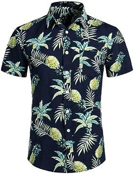 LFNANYI Camisa Hawaiana Azul Piña Azul Marino Verano Camisas de Vestir de Manga Corta Tropical Floral Camisa de Hawaii Masculina Social: Amazon.es: Deportes y aire libre