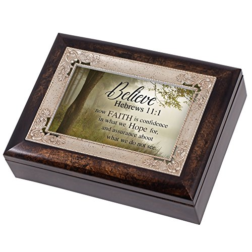 Believe Faith is Hope Hebrews 11:1 Italian Design Jewelry Music Box Plays Amazing Grace