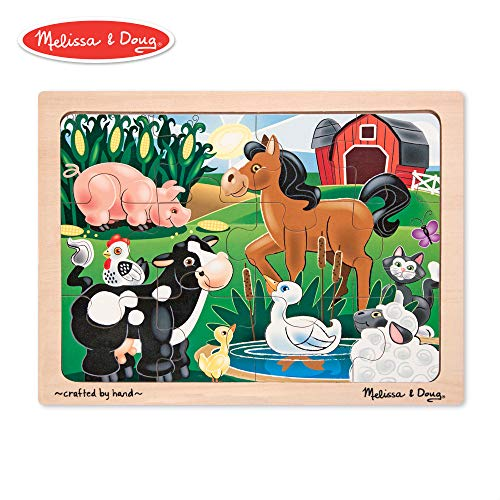 12 Piece Tray Puzzles - Melissa & Doug On the Farm Wooden Jigsaw Puzzle With Storage Tray (12 pcs)