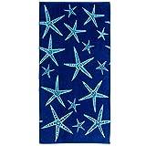 Great Bay Home 100% Cotton Jacquard Plush Nautical Beach Towel. Oversized 40' x 70' Maui Collection (Star Fish)