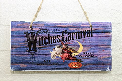Witches Carnival Halloween Vintage Wood Sign Rustic Wooden Signs Wood Block Plaque Wall Decor Art Farmhouse Home Decoration Gift - 7x12 inch