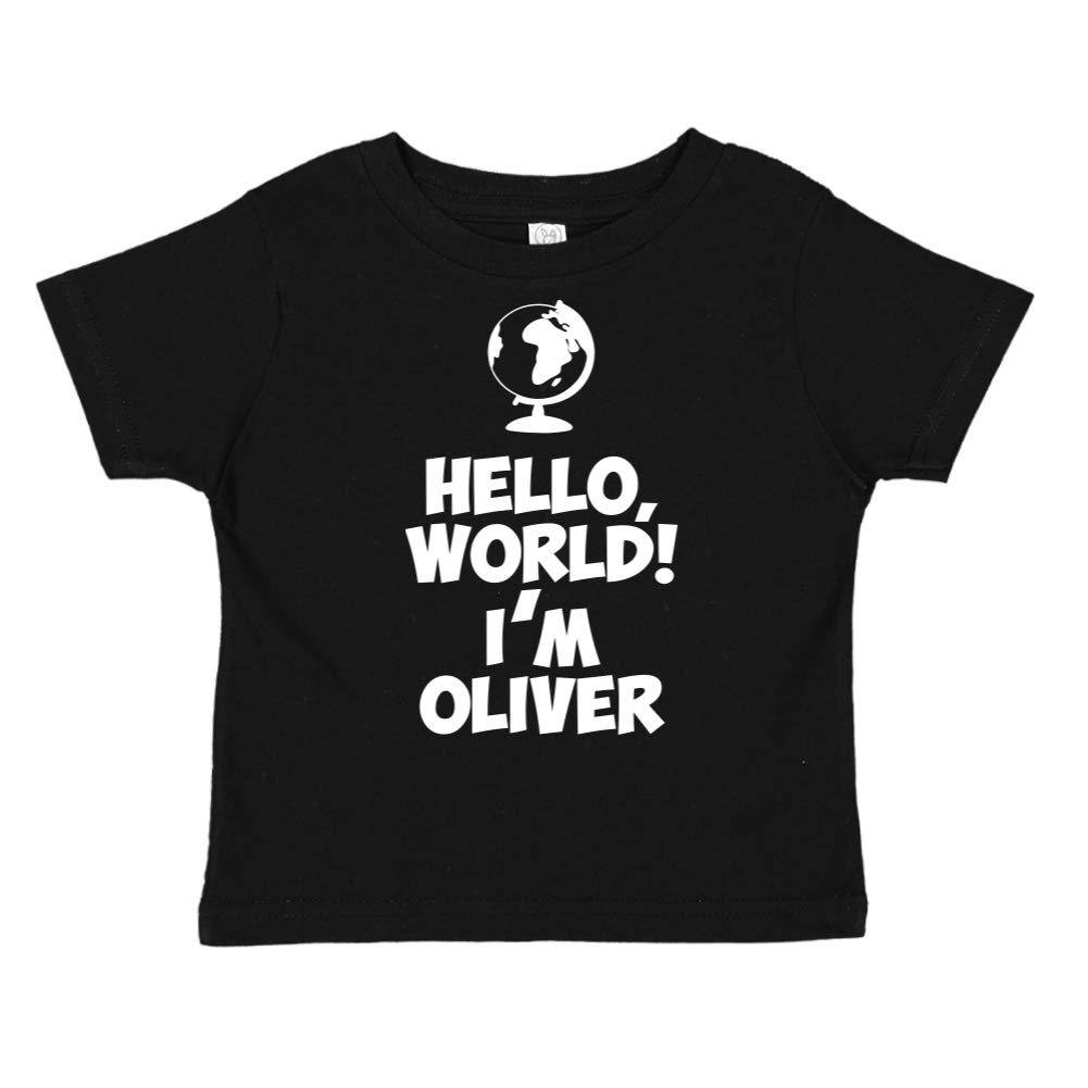 World Hello Personalized Name Toddler//Kids Short Sleeve T-Shirt Im Oliver