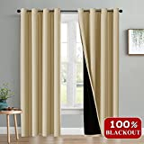 Completely Blackout Living Room Curtains - PONY DANCE Home Fashion Privacy Protect
