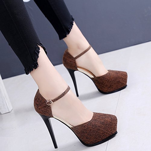 High Shoes Autumn Shoes Fine Night Single Spring KPHY Heel 12Cm Shop Woman Super Brown Heel Shoes And Heel Sexy Hollow OqPqwTR0W