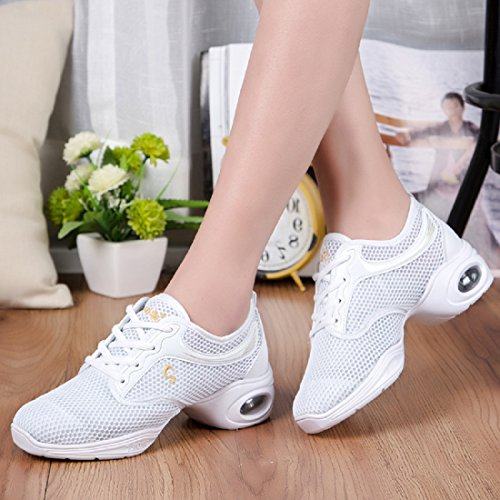 YIBLBOX Womens Lightweight Breathable Ballroom Boost Mesh Dance Sneakers Trainers Jazz Heel Shoes White Single Mesh FEuPEzy