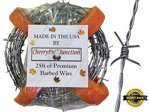 25 Feet Real Barbed Wire - Light Duty 18 guage 4 pt MADE IN USA - Wire for Crafts