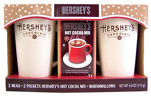 Hershey's Chocolate 2 Mug Ceramic Gift Set with Hot Chocolate Mix and ()