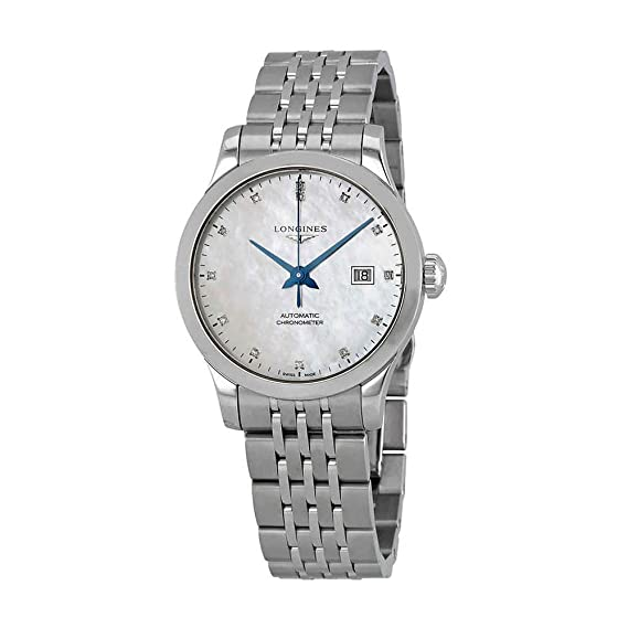 bb5c85659 Amazon.com: Longines Record Automatic Mother of Pearl Diamond Dial Ladies  Watch L23214876: Watches