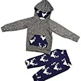 AMA(TM) Toddler Baby Girl Boy Deer Hooded Tops +Pants Outfits Clothes Set (9M, Gray)