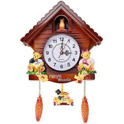 PYapron Cuckoo Pendulum Wall Clock, Black Forest Clock with Quartz Movement and Cuckoo Chime, Vintage Look Cuckoo Clock for Wall Art Home Living Room Office, 43X28cm