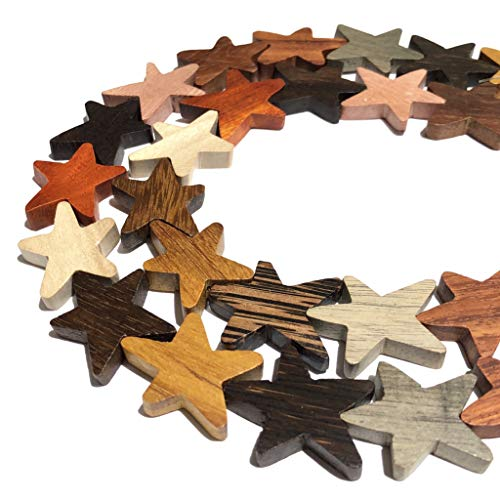 ([ABCgems] Extremely Rare Premier Wood Collection (Combination of Up to 12 Different Exotic Hardwood) Precision-Cut 20X26X5mm Star Cut Beads for Beading & Jewelry Making)
