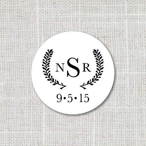 Custom Monogram Stickers, Wedding Monogram Labels, Envelope Seals, Save the Date Wedding Stickers, Modern Save the Date Stickers, 2:11 ()