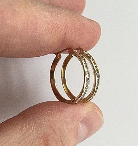 LUXURYGOLD888 10K SOLID GOLD YELLOW HOOP EARRINGS WITH CZ-20mm//10K ORO REAL ARETES
