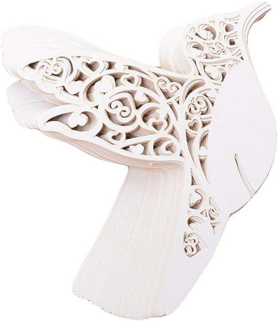 MAXGOODS 50 piezas de cartas en forma de pájaro tarjeta de nombre Escort, lugar de matrimonio tarjeta notas de cristal vino suministros de fiesta blanco: Amazon.es: Hogar