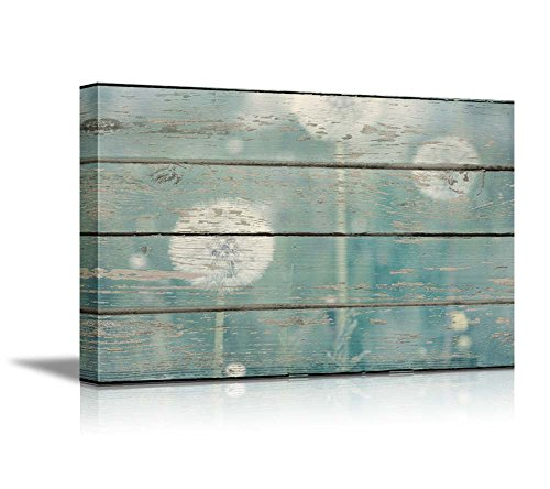 Dandelion on Vintage Wood Board Background Stretched Rustic ation