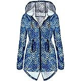 Meaneor Women's Long Sleeve Fishtail Leopard Print Raincoat Waterproof Jacket