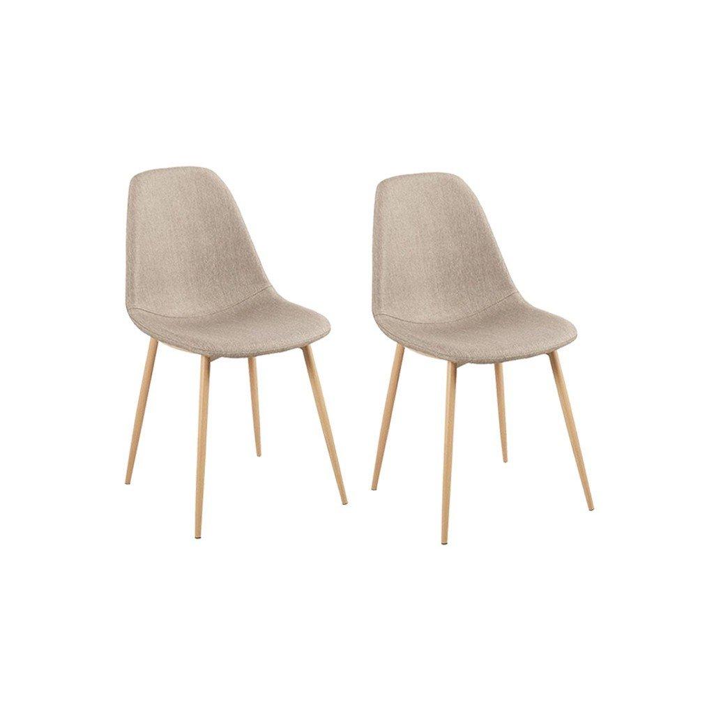 Beige Oscuro ZONS / 45/x 40/x H90/cm /Juego de 2/sillas dise/ño escandinavo Tendance n/órdico Pi/étement Metal Color Madera Natural y Funda de Tela