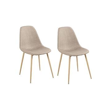 Lot De 2 Chaises Design Scandinave Tendance Nordique Pietement Metal Couleur Bois Naturel Et Housse En