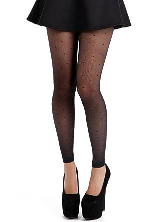 f96bdc4d9811b Pamela Mann Fine Net Polka Dot Footless Tights -Black-One Size ...