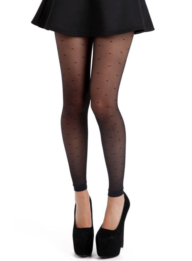 Pamela Mann Fine Net Polka Dot Footless Tights -Black-One Size