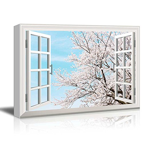 Print Window Frame Style Wall Decor Cherry Blossom in Clear Sunny Sky in Spring Gallery Stretched