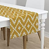 Table Runner - Diamond Chevron Gold Taupe Cream Southwest Navajo by Fable Design - Cotton Sateen Table Runner 16 x 90