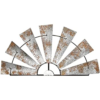 Special T Imports Galvanized Metal Half-Windmill Wall Sculpture (36