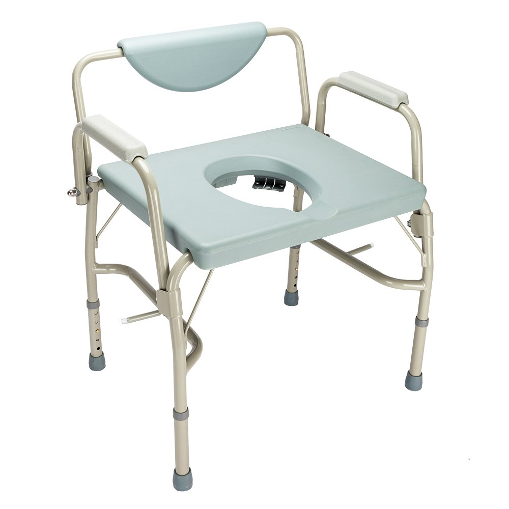 Heavy Duty Drop-Arm Bedside Commode Chair Toilet Seat Bariatric Steel, Height Adjustable