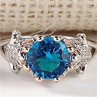 A.Minnymin Women Man Frog Crown 925 Silver 2.1CT Aquamarine Prom Wedding Ring Size 6 78 910 (6)