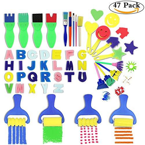 Kids Craft Materials (HBlife 47Pcs Children Fun Brush Sponge Finger Painting Drawing Tools Graffiti Flower Pattern Foam Roller Sponge brushes Set Kit Early Learning Kids Tools for Perschool Varnish Craft DIY Art Supplies)