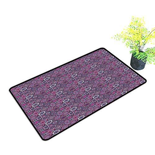 (Waterproof Door mat Mandala Arabic Ottoman Motifs Vintage Design Elements Diamond Line Moroccan Pattern W30 xL39 Breathability Bluegrey Grey Pink)