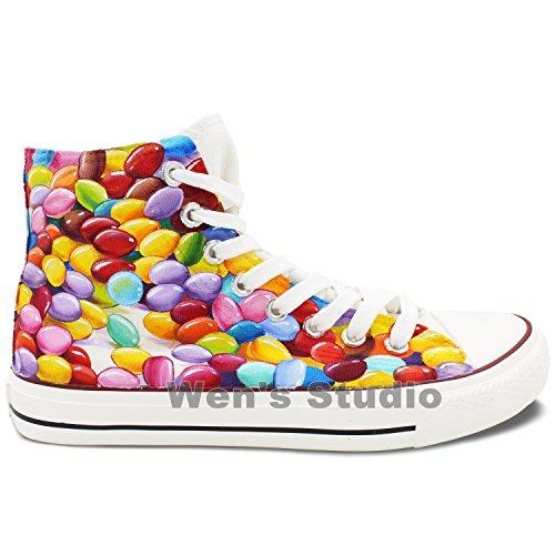 Wen Ontwerp Kleurrijke Chocolade Bonen Handgeschilderde Schoenen Vrouwen Mannen Canvas Sneakers