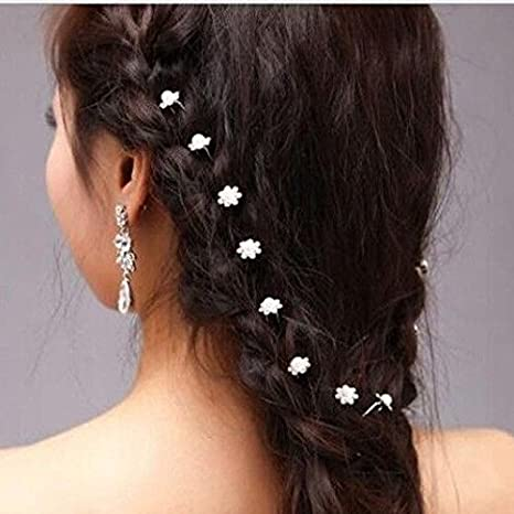 66940980a4 Buy Lovely 12 pcs. Set Crystal Rhinestone Flower Hairpins Hair Clips Women  Wedding-Hair Accessories. Online at Low Prices in India - Amazon.in