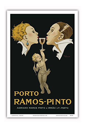 (Porto Ramos-Pinto - Couple Kissing, Cupid, Glass of Port Wine - Adriano Ramos Pinto & Irmão Lda-Porto - Vintage Advertising Poster by René Vincent c.1920s - Master Art Print - 12in x 18in)