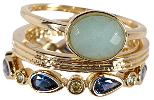 Amazonite & CZ Wholesale Gemstone Jewelry Stackable Ring Set (Size 6) (Gemstone Ring Stackable)