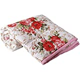 Zylish Cotton Beautiful Floral Designs Reversible AC Blanket/Dohar/Quilt for Home Single Bed (Pink and Multicolour)