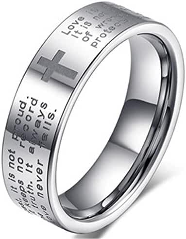 Men Women 6mm Tungsten Carbide White Ring Engraved English Bible Verses About Love Cross Band For Her Him