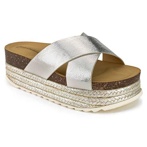 RF ROOM OF FASHION Women's Open Toe Espadrille Lug Sole Summer Slip on Platform Footbed Slides Sandals Silver (8) (Sandal Shoes Jeweled Platform)