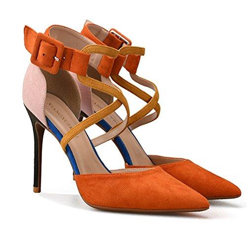 Talones pie Alto orange Club NVXIE Estilete Señoras Mujer Vestir Dedo del Paseo Fiesta Corte Puntiagudo Nocturno Sandalia Zapatos Zapatillas w4p0qtp