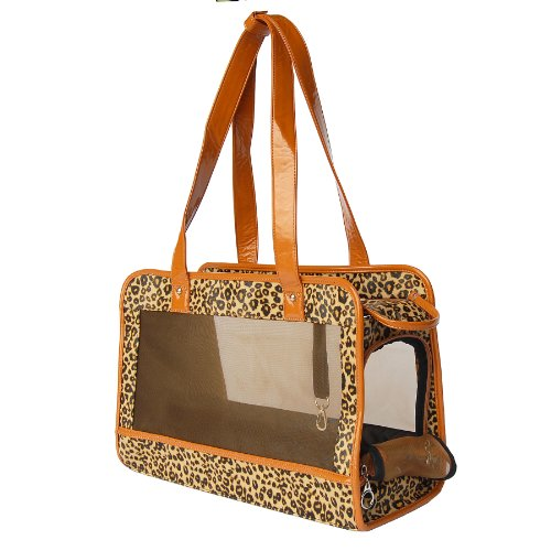 Anima Cheetah Print Mesh Carrier with Beige Trim, 15-Inch by 7-Inch by 10.5-Inch, My Pet Supplies