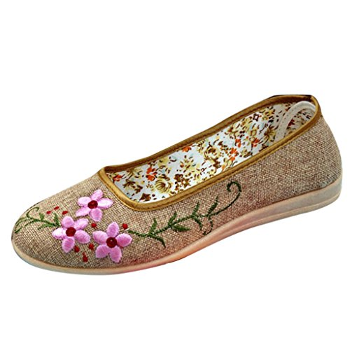 Binying Women's Chinese Style Floral Flat Pumps Light Coffee YJIvy0HlT4