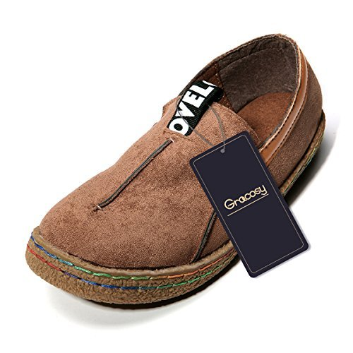 Suede Women Shoes - Tezoo Slip-On Walking Shoes, Suede Pure Color Slip On Stitching Flat Soft Shoes for Women Dark Brown US 9