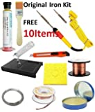 Buyyart New Original Commercial 10 Items Soldering Iron (25W) Kit ,Flux,Wire,Paste, Brush, Cutter, Copper Wire , Bit And Stand