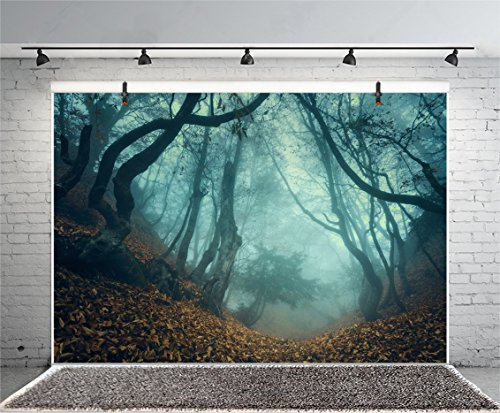 Leyiyi 8x6ft Photography Background Happy Halloween Party Backdrop Horror Foggy Forest Dark Wood Costume Carnival Night Banquet Fallen Leaves Photo Portrait Vinyl Studio Video Prop -