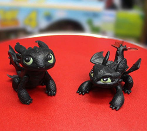 2Pcs Figures How to Train Your Dragon Toothless Night Fury Toppers Kids Toy Doll